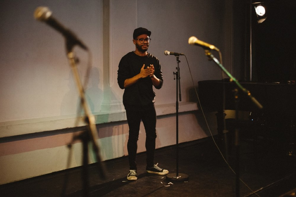 Daniel Rodrigo Nilsen (TekstLab Scratch Kveld 4. mai 2015)  Foto: Frédéric Boudin