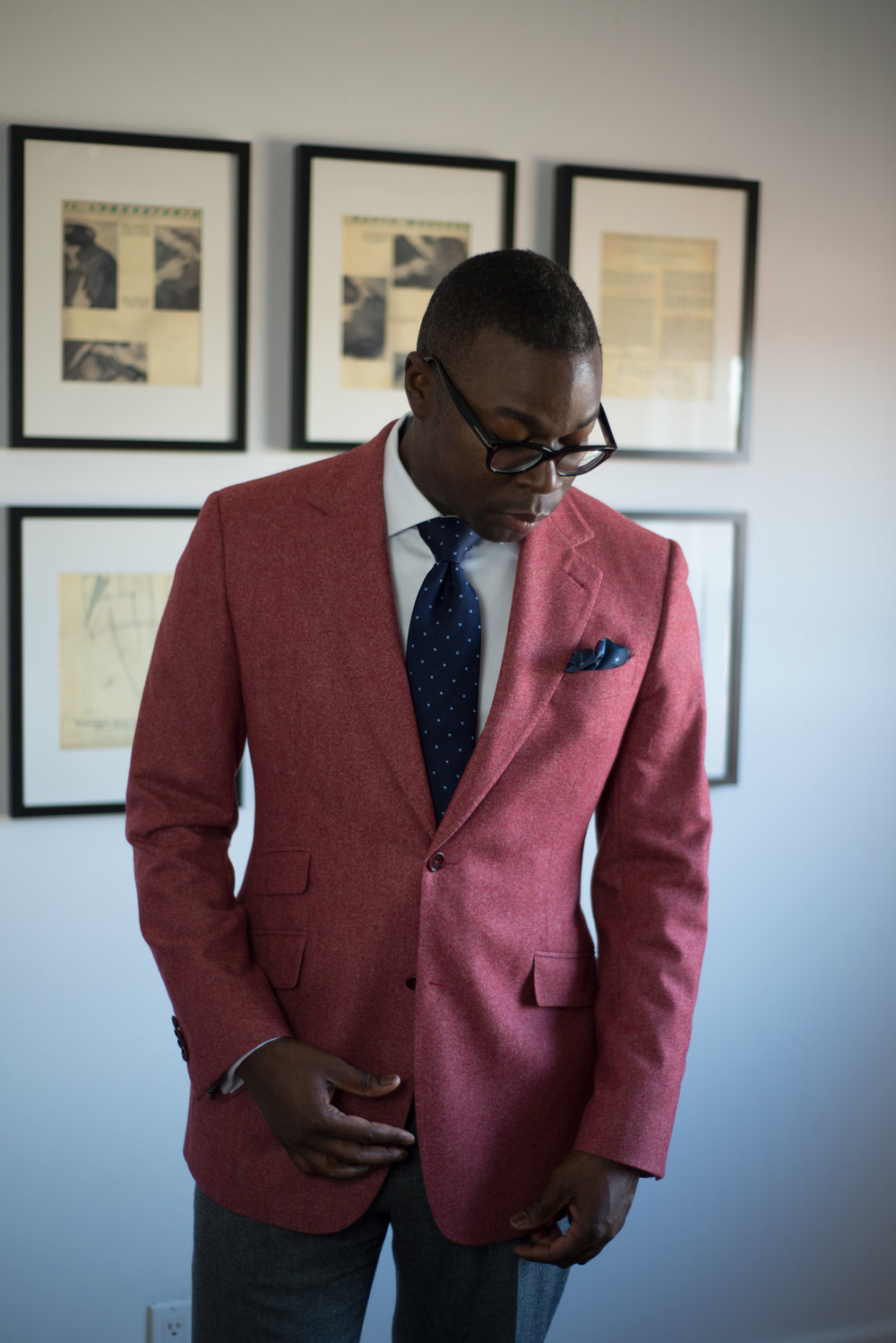 A simple way is to invest in a statement blazer. The key to successfully doing this is to know your go-to colour. For example, Kemar loves red–primary red. However a brilliant primary red jacket may not shout clean, sophisticated or class. So the trick is to find the subdued, softened version of this colour. Choose a cloth with texture, and pair it with colours that can support the statement jacket like a foundation. If the rest of your outfit is simple, then nothing will be in competition visually.