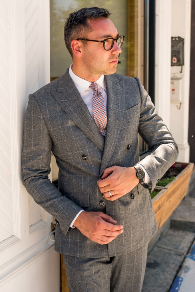 For an alternative look, his all-business  Canvas  double-breast in Vitale Barberis Canonico late season wool is brightened up with this happy summer micro gingham tie.  This season, why not try something similar? Experiment with different fabrics, uplifting colours, and cheerful patterns. Better yet, come see us at  Canvas , and we'll fit you with our sophisticated mix-and-match tailored style.
