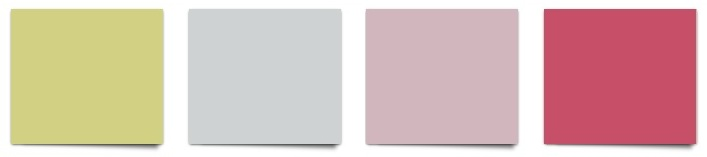 Sherwin Williams paint colors Primavera, Misty, Delightful and Eros Pink