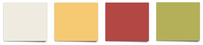 Sherwin Williams Shell White, June Day, Red Tomato, and Parakeet