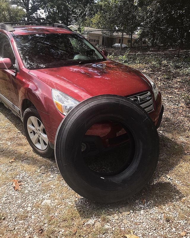 RV tires are akin to truck tires, sometimes smaller. Our bus tires are about 125 lb *without the rim* and almost 3 feet tall. We couldn't help but imagine how amazing a TIRE SWING these would make. 😂  #schoolbusconversion #skoolie #tinyhouse #diyprojects #busconversion #buslifeadventure #buslifediaries #tinyhomeonwheels#tinyhomebuild #livingfreely #homeonwheels #rvrenovation #tinyliving #selfbuildcamper #homeiswhereyouparkit #motorhomelife #skoolieconversion #getoutstayout #takemoreadventures #outdoorliving #happyadventuring #weboughtabus #tinyhouseliving #adventuremobile #nomadiclife #livingsmall #offgridliving #campinglifestyle #welivetoexplore #busliving