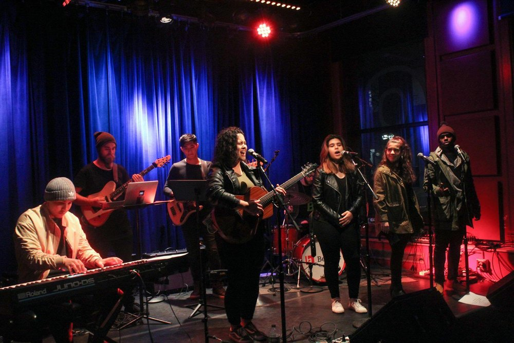 Gaby Alegro and her band performing at The Red Room.  Vocals: Kristen Zagales, Vivian Valls, Jackson Alexander. Guitar: Billy Trone. Keys: Matt Daspit. Bass: Philip Chuah. Drums: Bas Janssen. Photo courtesy of The Red Room Berklee.