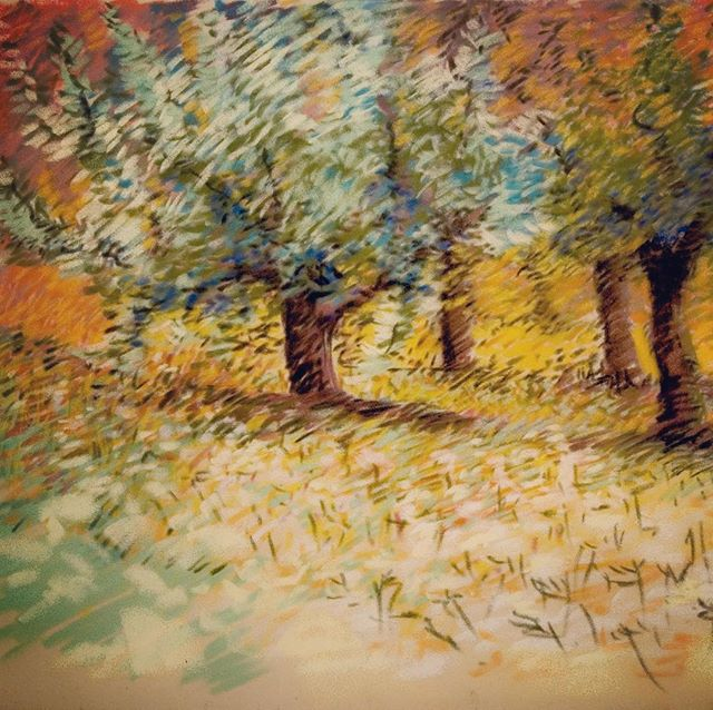 Spring has sprung. The grass has ris. I wonder where the birdies is. This is a throwback to 2007. Memories of orderly German orchards full of meadow flowers and bees and warm breezes. #pasteldrawing #pasteldrawings #pastellandscape #pastellandscapes #springintheorchards #springtreesareblooming