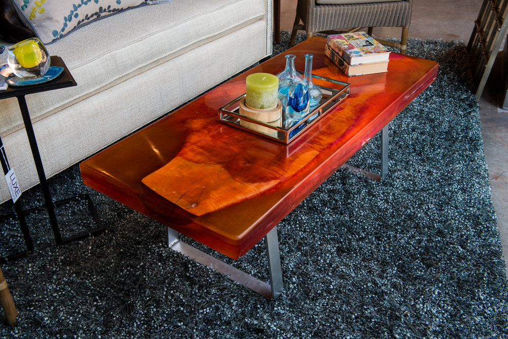 Wood & Resin Coffee Table - Hard maple wood slab combined with 9 gallons of tinted resin to create a bold statement piece. -