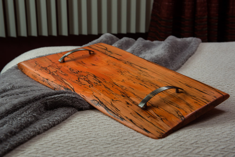 Wood Serving Tray with Handles - Spalted maple dyed a brilliant orange with brushed nickel handle -