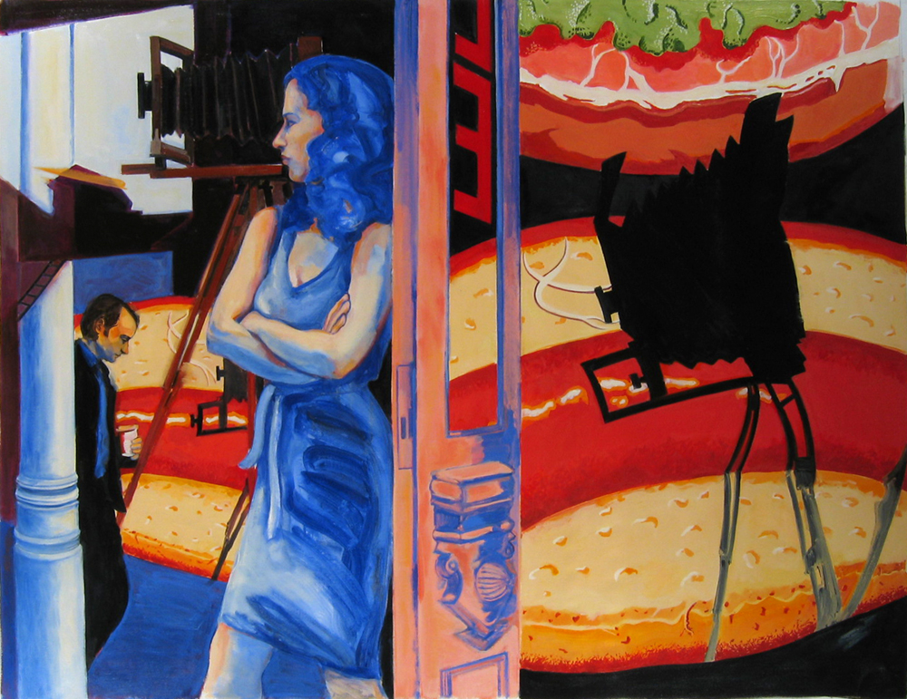 "Arcades , 1993, oil paint on linen, 42"" x 54"", (private collection)"