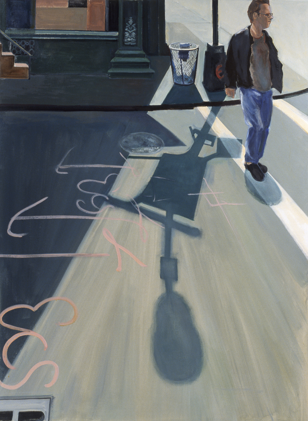 "Street Message, 2002, oil paint on linen, 54"" x 40"", (private collection)"