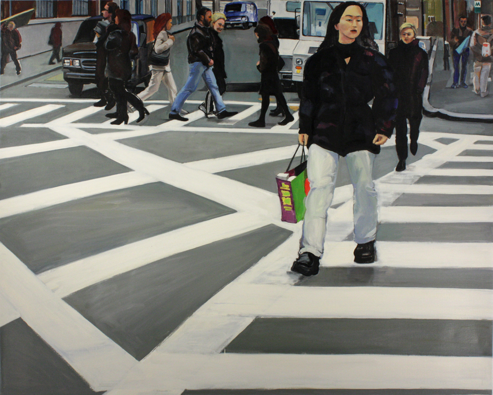 "Crossing , oil paint on linen, 44"" x 56"""