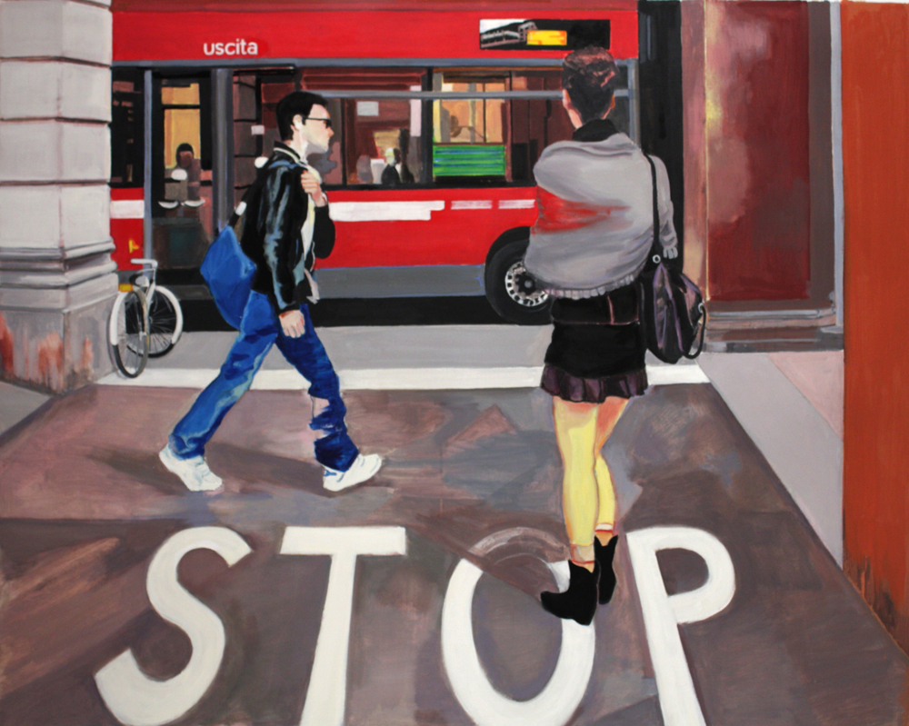 "Stop,  2012, oil paint on linen, 40"" x 50"""
