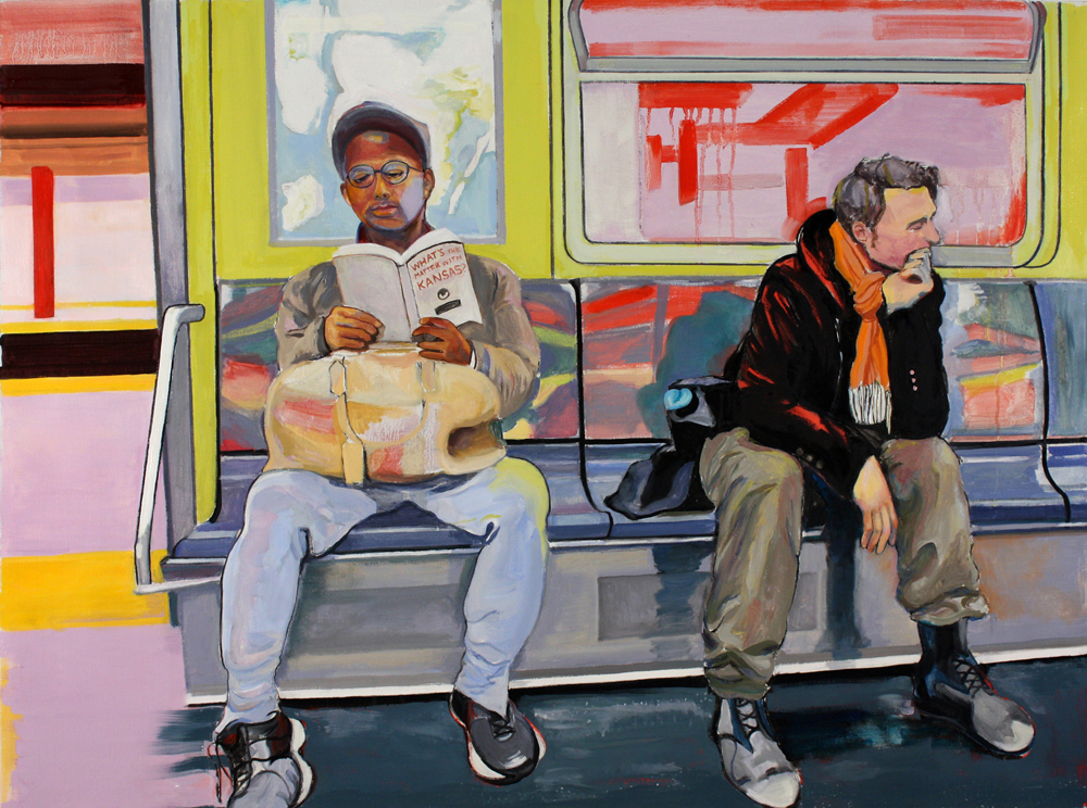 "Two Men on the Subway , 2015, oil paint on linen, 36"" x 48"""