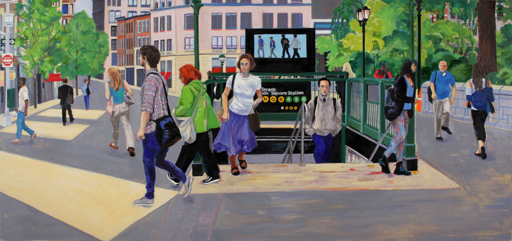 "Union Square , 2016, oil paint on canvas, 30"" x 64"""