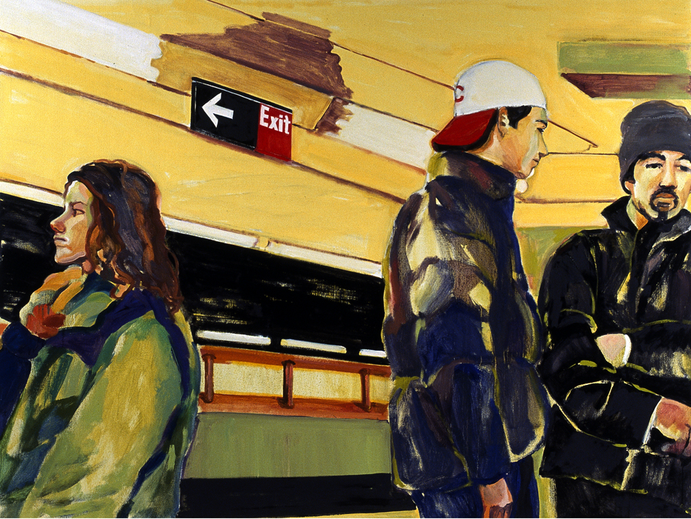 "Exit , 2005, oil paint on linen, 37.5"" x 50"""