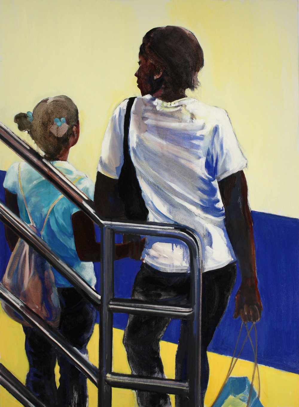 "Mother and Daughter , 2009, oil paint on canvas, 36"" x 20"" (private collection)"