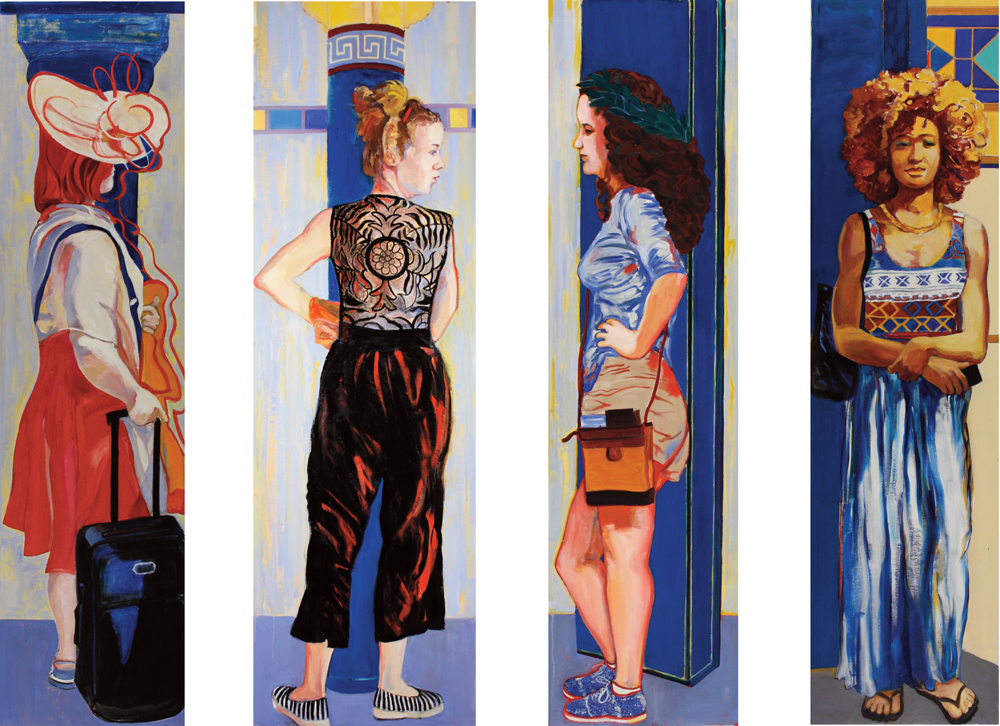 "Four Caryatids , 2016, oil paint on linen, 65"" x 80"""