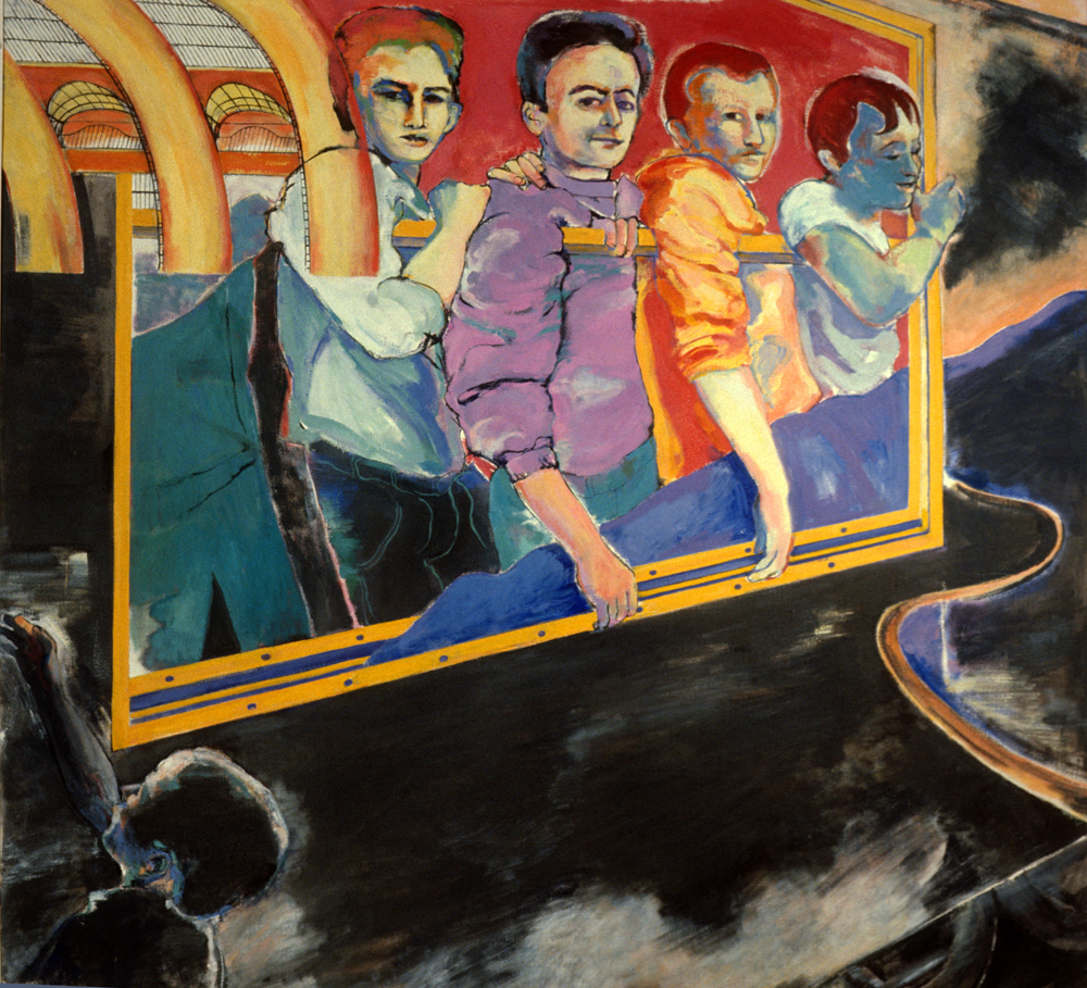 "Passengers, 1991, oil paint on linen, 72"" x 80"" (private collection)"