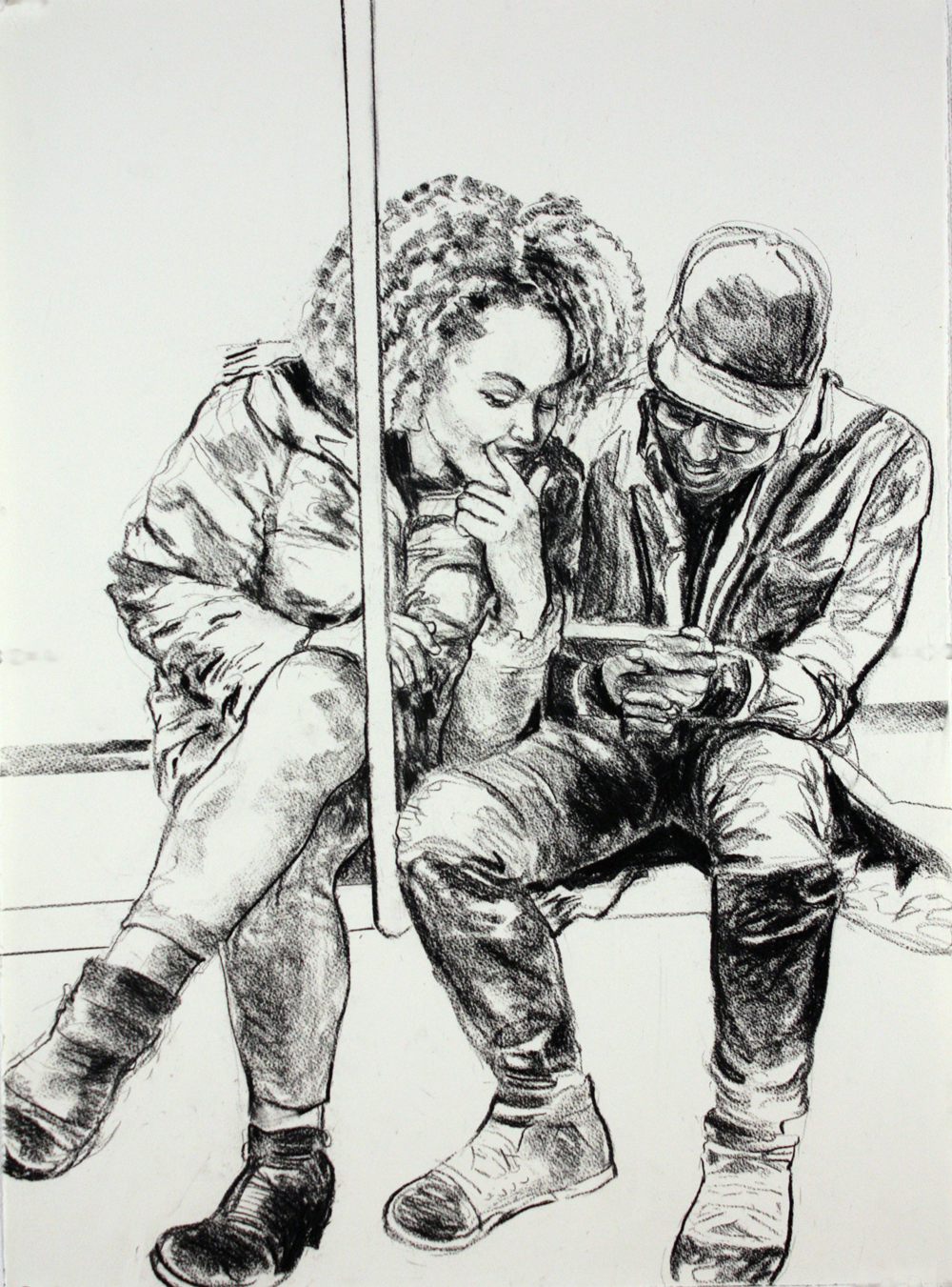 "Couple on the Subway , 2017, charcoal on paper, 30"" x 22"""