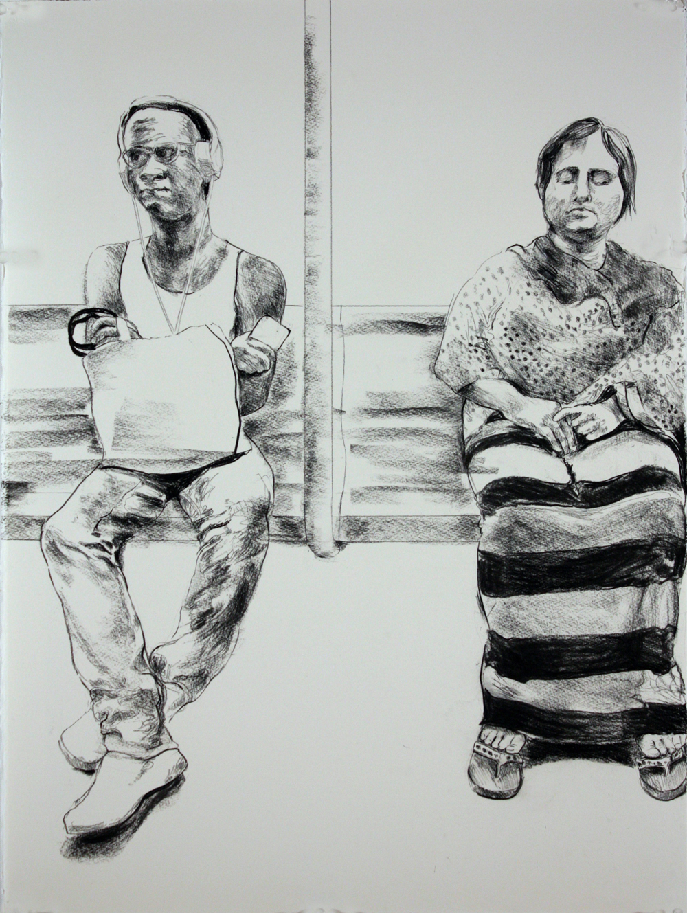 """Two, 2017, charcoal on paper, 30"""" x 22"""""""