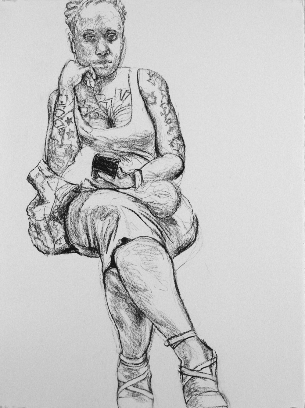 "Woman on the Subway , 2017, charcoal on paper, 30""x22"""