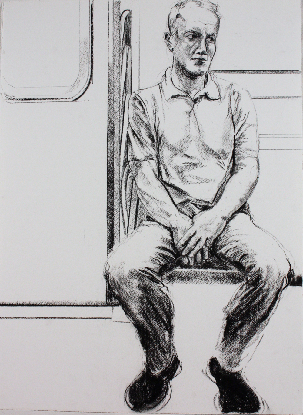 "Man on Subway , 2016, charcoal on paper, 30"" x 22"""