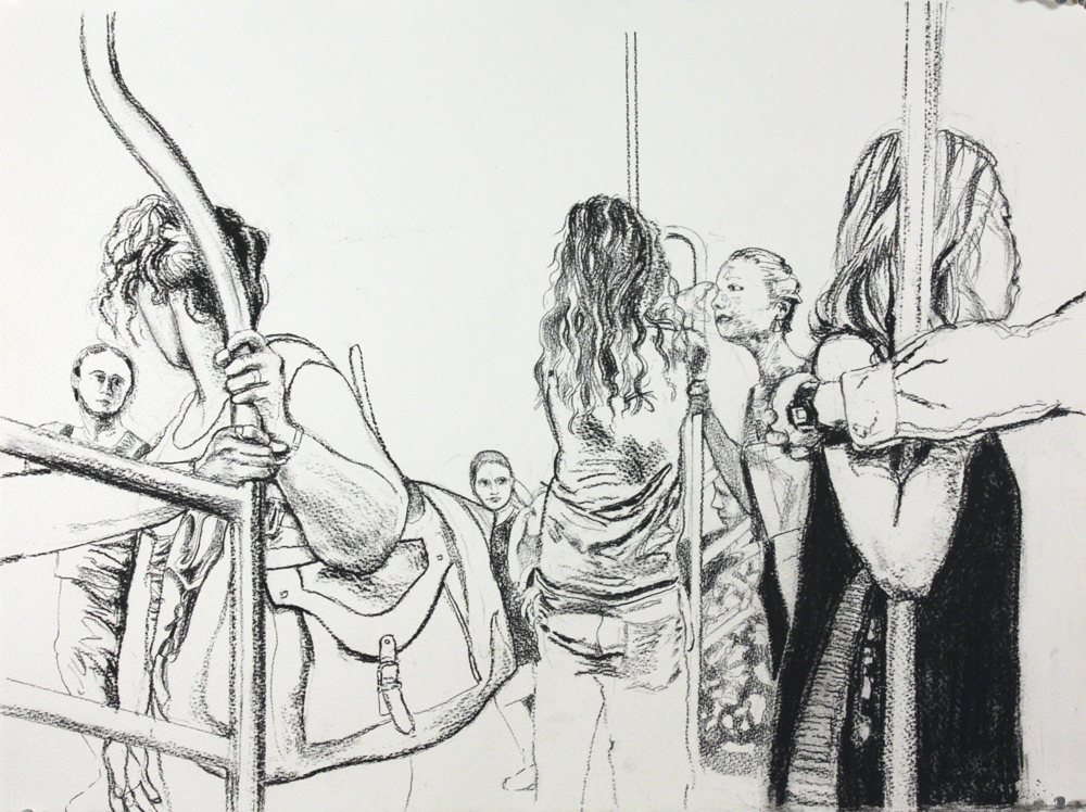 "Subway Riders , 2013, charcoal on paper, 22"" x 30"""