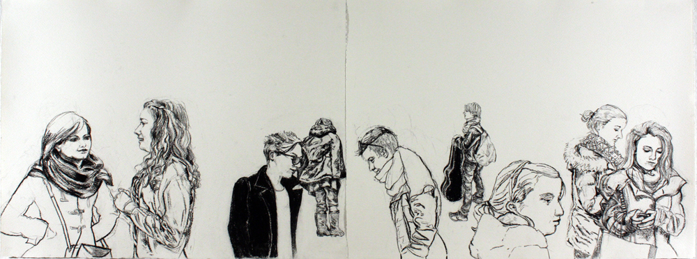 "Bus Stop, 2013, charcoal on paper, 22"" x 60"""