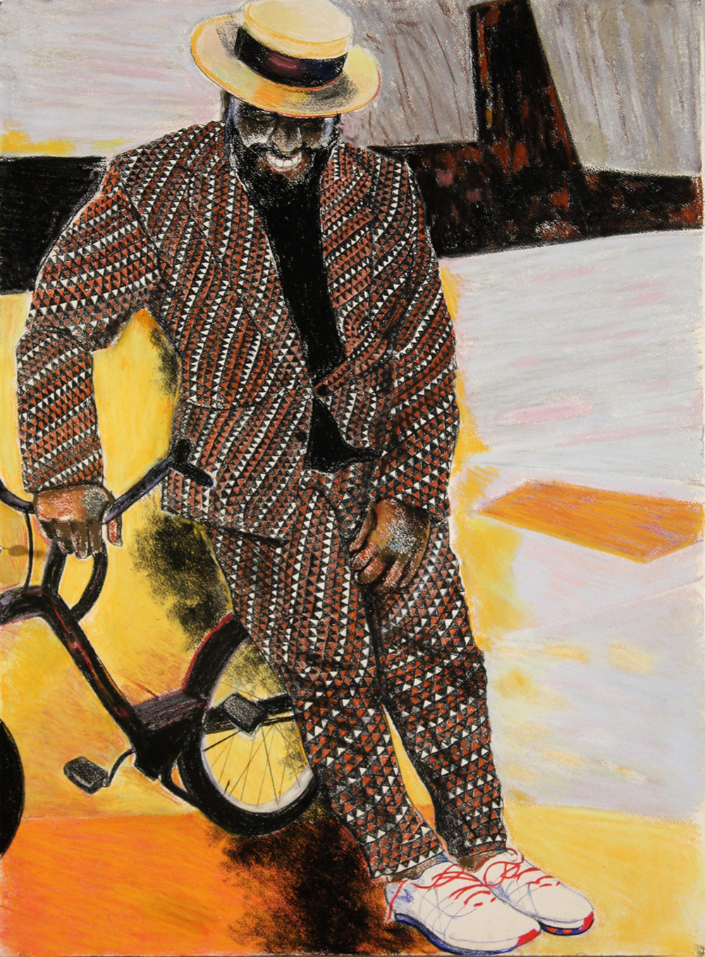 "The Suit, 2015, pastel on paper, 30"" x 22"""