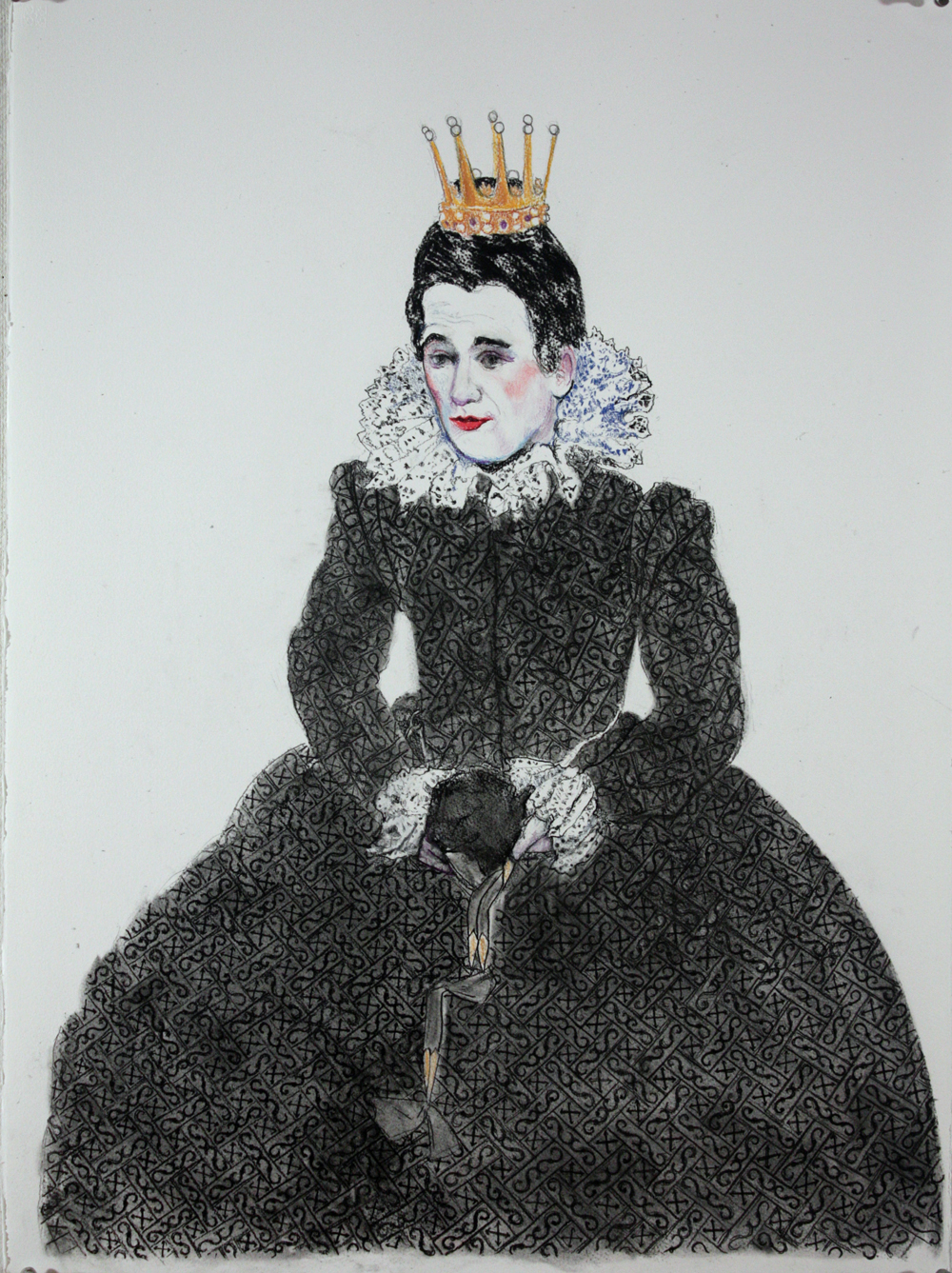 "Mark Rylance as Olivia, 2014, charcoal and pastel on paper, 30"" x 22"""