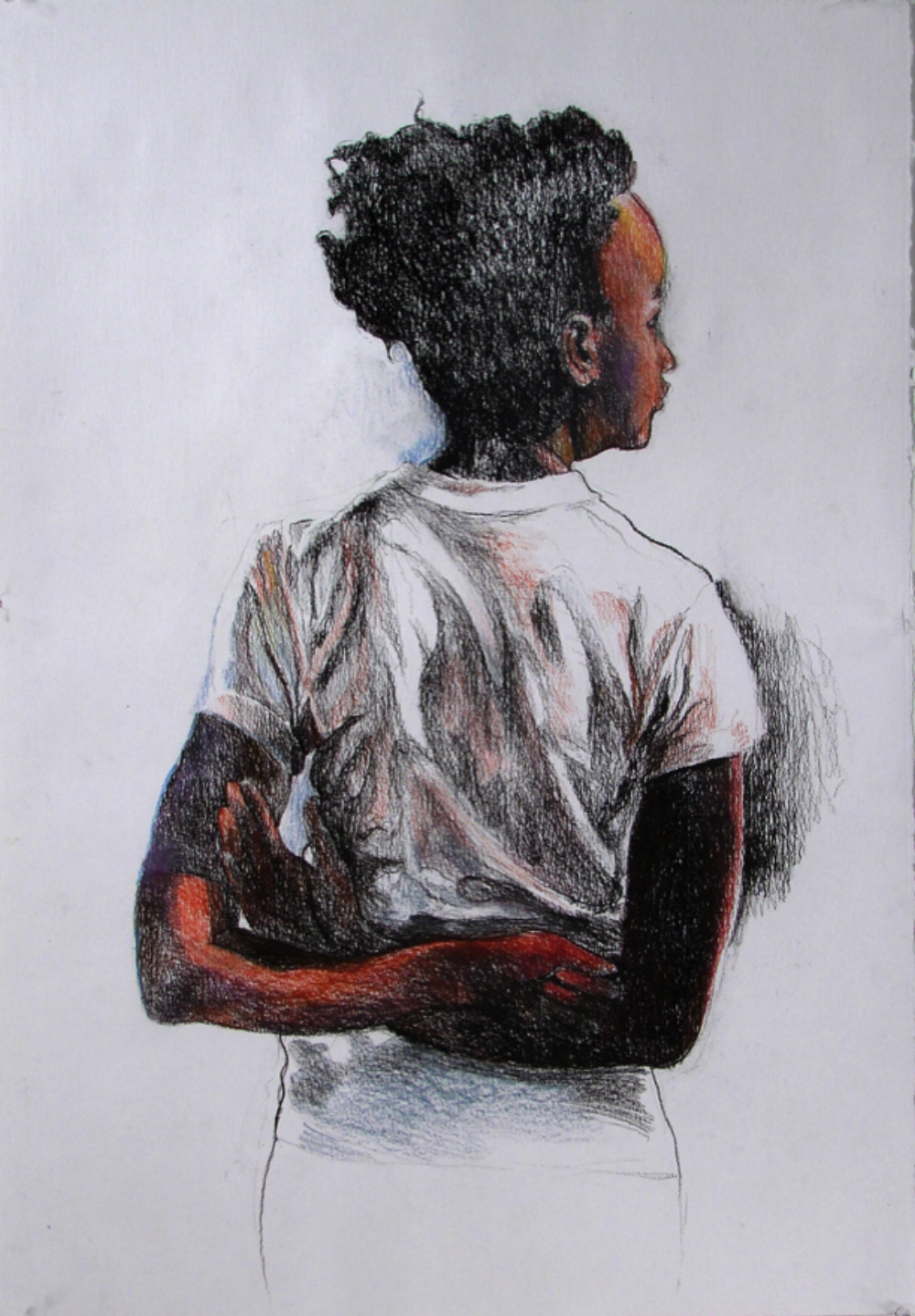 "Girl , 2009, pastel pencil on paper, 30"" x 22"""