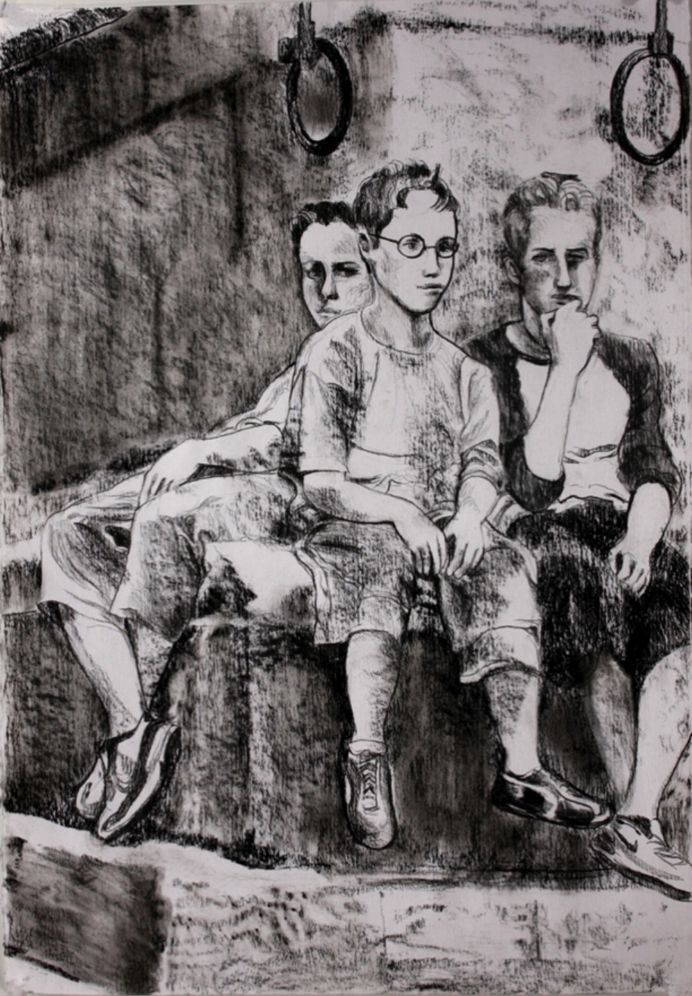 "Three Boys, 2008, charcoal and pastel pencil on paper, 30"" x 22"""