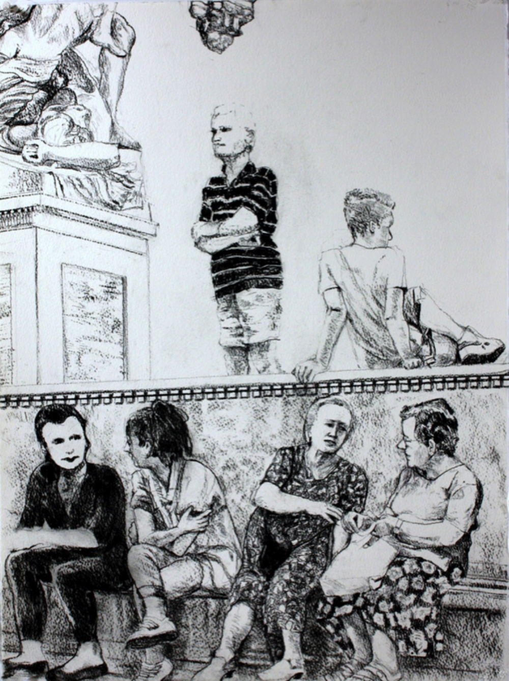 """Florence Town Square, 2010, charcoal pencil, 30"""" x 22"""""""