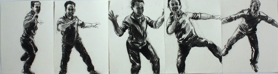 "Neil Moves, 2012, charcoal on paper, 12"" x 45"""