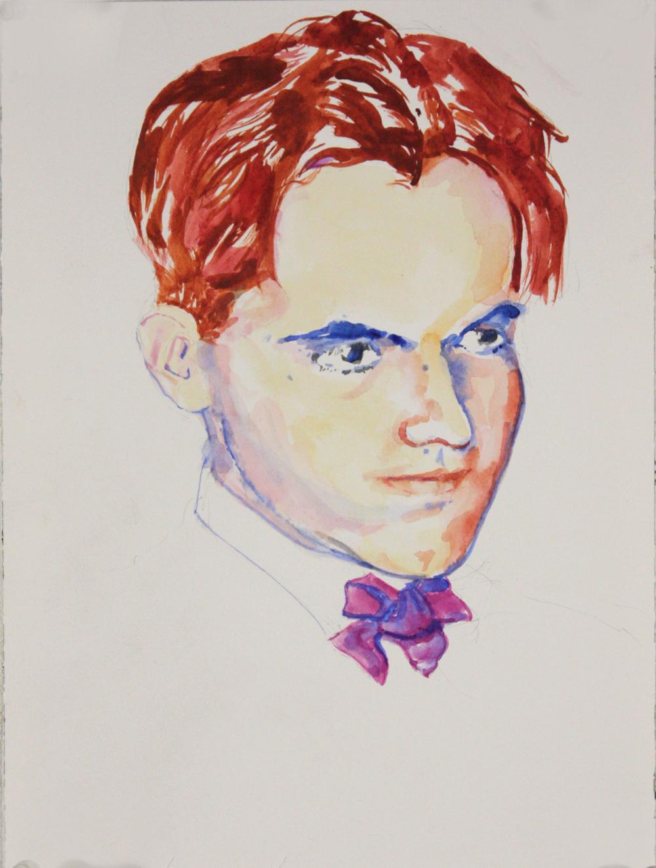 "Frederico Garcia Lorca, 2015, watercolor on paper, 12"" x 9"""