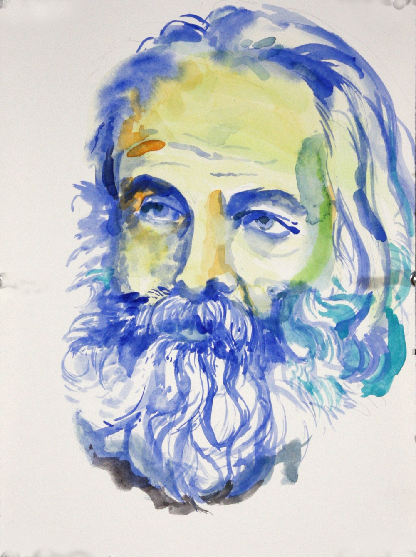"Walt Whitman , 2015, watercolor on paper, 12"" x 9"""
