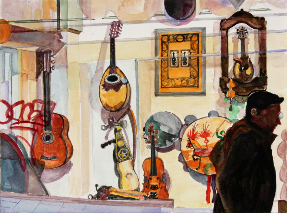 "Musical Instruments,  2013, watercolor on paper, 9"" x 12"""