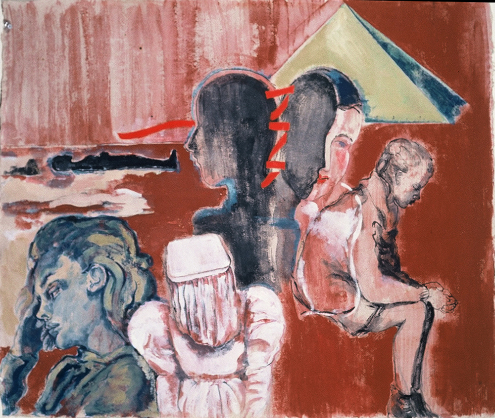 "Wooden Maria 1 , 1993, gouache on paper, 24"" x 29"""