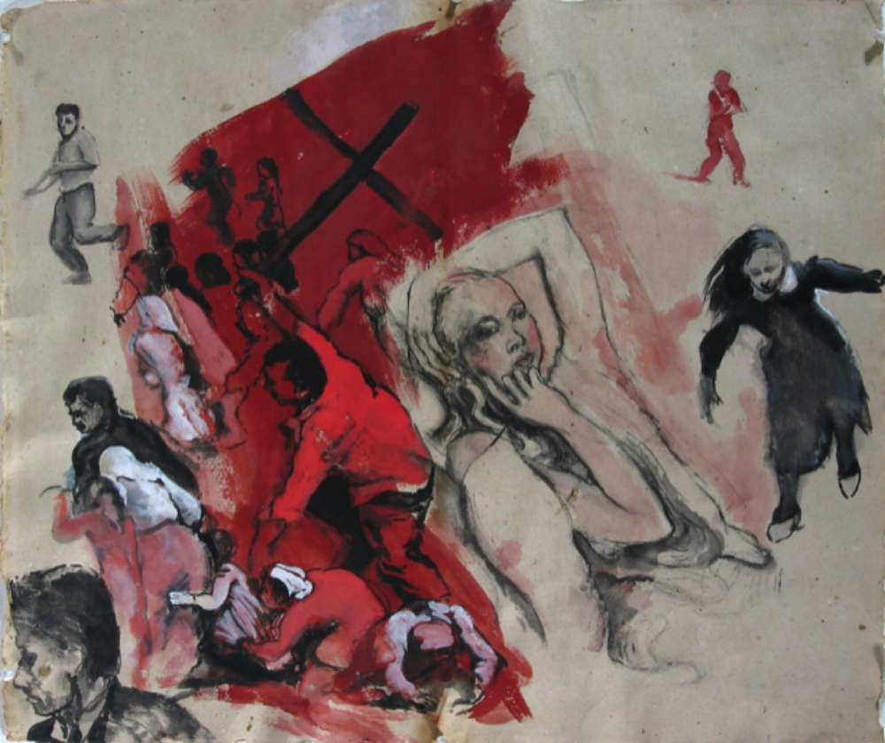 "Rachel , 1993, gouache on paper, 24"" x 29"""