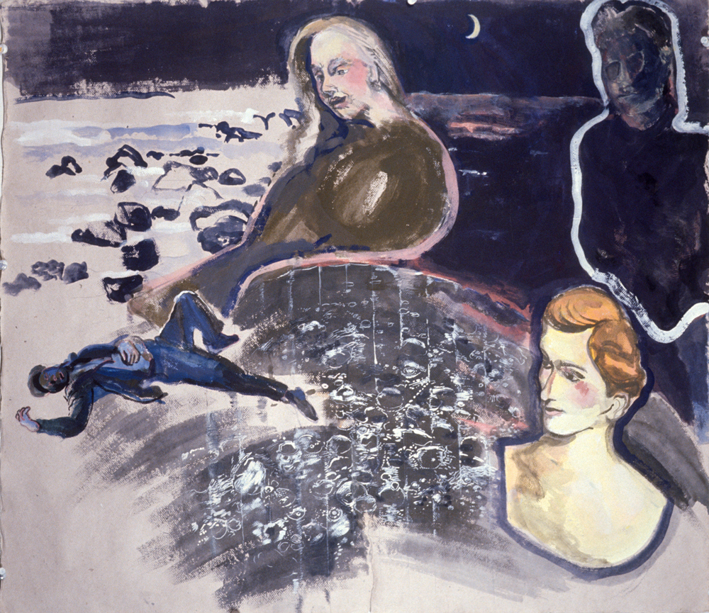 "Nauticaa , 1993, gouache on paper, 24"" x 29"""