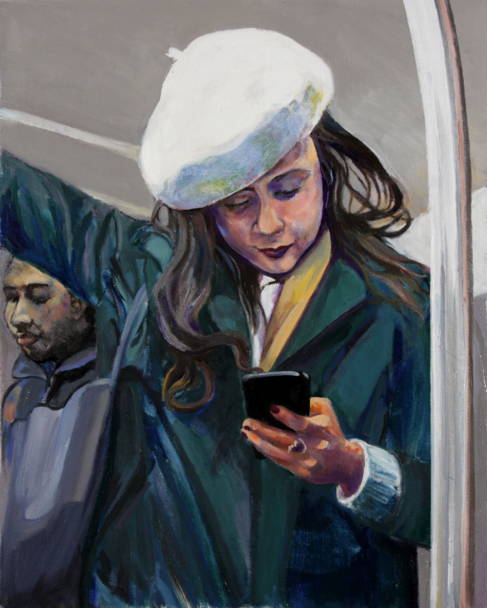 "Woman in Beret,  2018 , oil on canvas, 20"" x 16"""