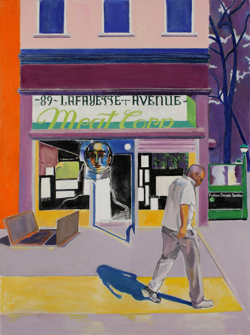 "89 LaFayette Avenue , 2017, oil paint on canvas, 40"" x 30"""