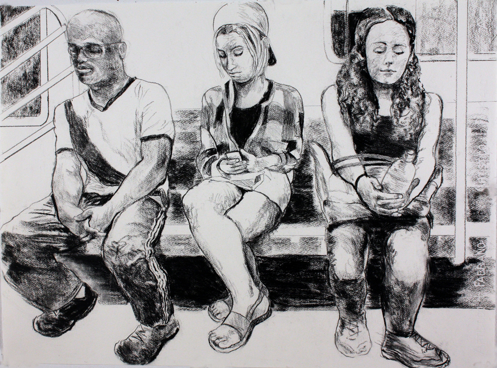 "Three Passengers,  2017, charcoal on paper, 22"" x 30"""