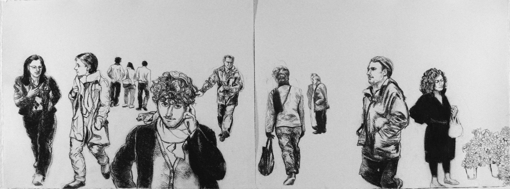 """On the Street,  2013, charcoal on paper, 22"""" x 60"""""""