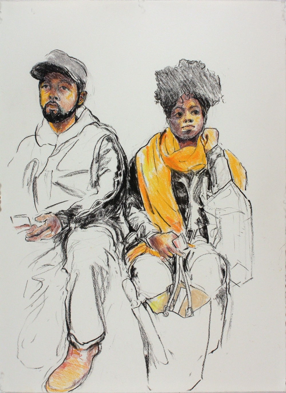"Yellow Scarf,  2017, charcoal and pastel on paper, 30"" x 22"""