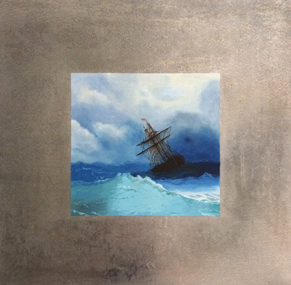 Stormy Seas ( after Aivazovsky)  oil on aluminum. 16 x 16""