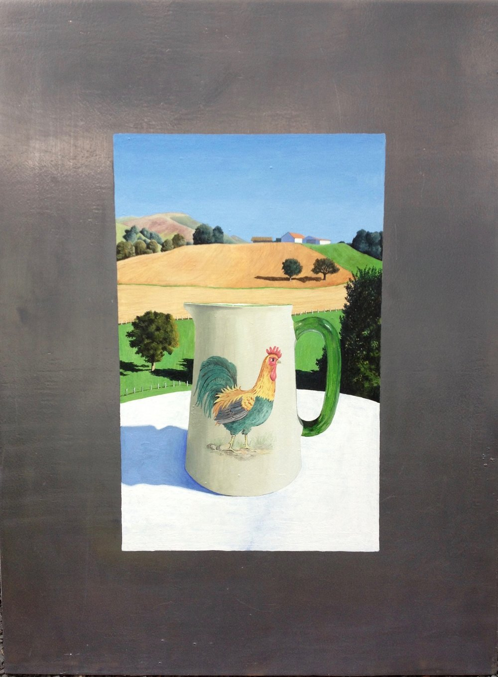 Rooster on the Farm Series - I started this series when I found a little English pitcher with a rooster on it. Making a realistic representation of a stylized image interested me. The context of a particular image interests me a lot also.Pitcher on the Farm, 29 x 20.