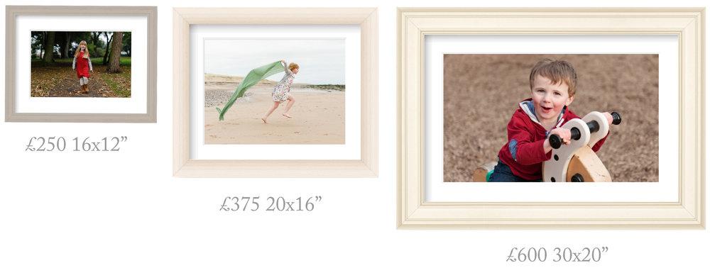 "Medium frame (20x16"" glass size)  £375            Large frame (30x20"" glass size) £600"