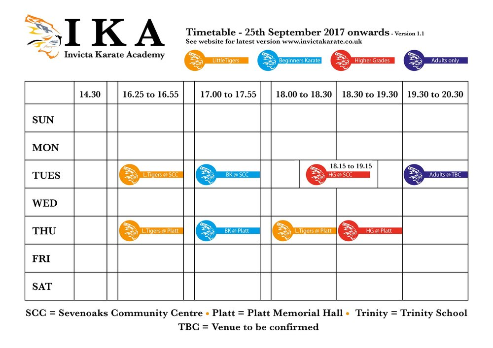 Invicta Launches New Class Timetable  Invicta Karate Academy