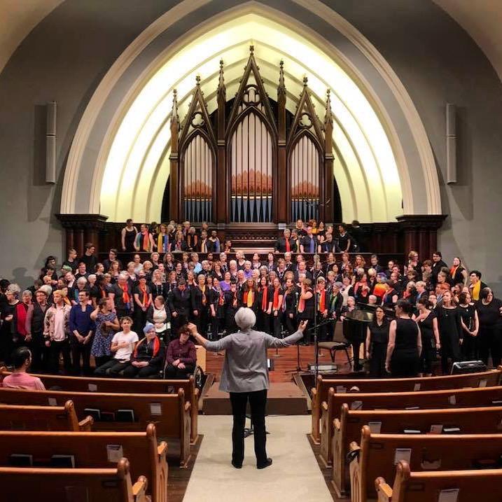 BVS, Aurora Chorus, Bridging Voices,Transpose, and the Portland Lesbian Chorus rehearsing with Joan Szymko.