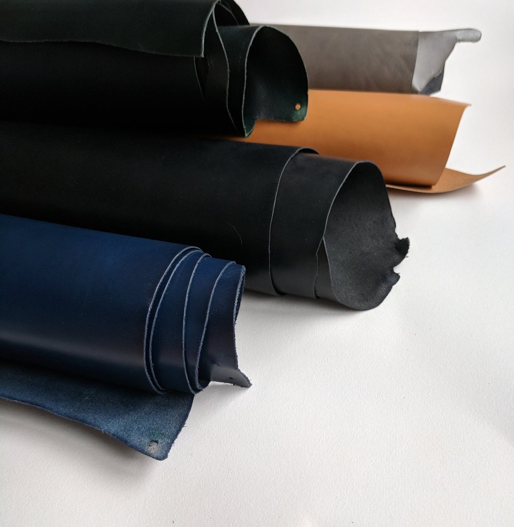 Rolled leather hides