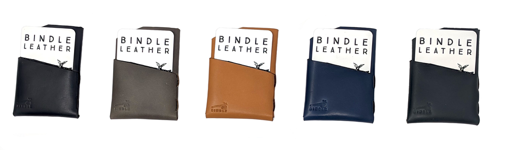 Front pocket wallets, black, grey, tan, blue and green